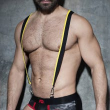 ADDICTED ADF89 Zipper Suspenders black/yellow