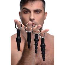 Master Series - 4er Pack Silicone Anal Ringed Rimmer Set - Analplug - black