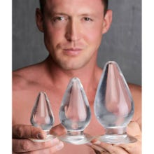 Master Series - Triple Cones 3 Piece Anal Plug Set clear