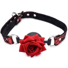 Master Series - Silicone Ball Gag with Rose black/red