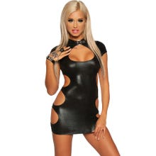 Saresia Minikleid Wetlook schwarz