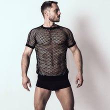 Spitzenjunge - Netzshirt Blank black