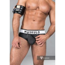 MASKULO - Brief - Rubber Look - Detachable codpiece - Rear Zip - Black