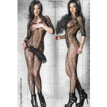 Chilirose Ouvert Tattoo Catsuit in schwarz