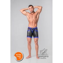 MASKULO - Youngero Generation Y Mens Fetish Shorts Codpiece Zipped Rear - Black/Blue