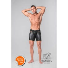 MASKULO - Youngero Generation Y Mens Fetish Shorts Codpiece Zipped Rear - Black/Black | SUPERSALE