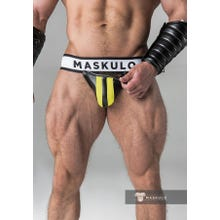 MASKULO - Fetish Jockstrap - Detachable codpiece - Black/Yellow | SUPERSALE