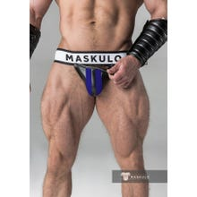 MASKULO - Fetish Jockstrap - Detachable codpiece - Black/Blue | SUPERSALE