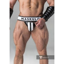 MASKULO - Fetish Jockstrap - Detachable codpiece - Black/White