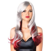 Perücke Multi Color Wig grey/red