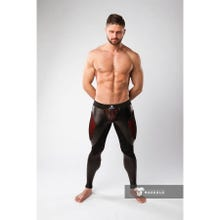 MASKULO - Armored Color Under Mens Fetish Leggings Zipped rear - Red/Black