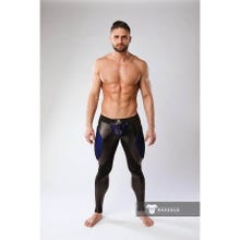MASKULO - Armored Color Under Mens Fetish Leggings Zipped rear - Royal Blue/Black