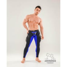 MASKULO - Armored Next Mens Fetish Leggings - Black/Blue