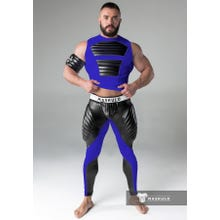 MASKULO - Fetish Meggins - Codpiece - Zipped rear- Pads - Blue/Black - Gr.XXXL | SUPERSALE