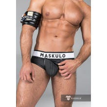 MASKULO - Brief - Rubber Look - Detachable pouch - Black | SUPERSALE