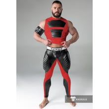 MASKULO - Fetish Meggins - Codpiece - Zipped rear- Pads - Red/Black |  SUPERSALE