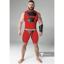 MASKULO - Fetish Short - Detachable codpiece - Red/Black - Gr.XXXXL | SUPERSALE
