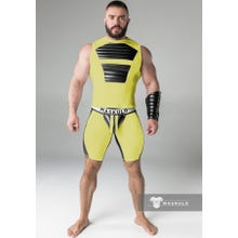 MASKULO - Fetish Short - Detachable codpiece - Yellow/Black - Gr.XXL | SUPERSALE