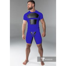 MASKULO - Fetish Short - Detachable codpiece - Royal Blue/Black