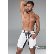 MASKULO - Fetish Short - Detachable codpiece - White/Black | SUPERSALE