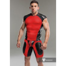 MASKULO - Fetish Tanktop - Shoulder Pads - Red/Black - Gr.XXL | SUPERSALE