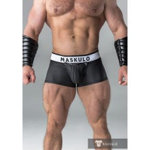 MASKULO - Trunks - Rubber Look - Detachable codpiece - Open rear - Black |SUPERSALE