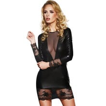 Kleid 7-Heaven wetlook lange Ärmel schwarz