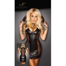 Handmade Noir Mini-Kleid Wetlook mit Kragen XXL (44) | SUPERSALE