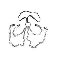 Sextreme Zaumzeug für Sie mit Halsriemen silber/schwarz