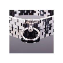 Halsband - Watch band collar with gem lock