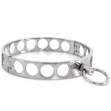 HardcoreDeLuxe Halsfessel - Steel Collar Open Circles L 13.5 cm silver