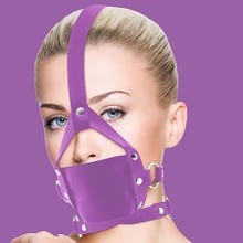 Mundknebel - Leather Mouth Gag - purple - SUPERSALE