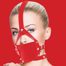 Mundknebel - Leather Mouth Gag - red - SUPERSALE