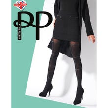 Pretty Polly Premium Fashion Strappy Print Tights black S-L | SUPERSALE