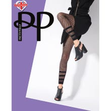 Pretty Polly Premium Fashion Stripe Net Footless Tights black S-L