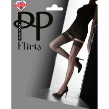 Pretty Polly Flirty Velvet Lace Backseam Hold Ups black S-L
