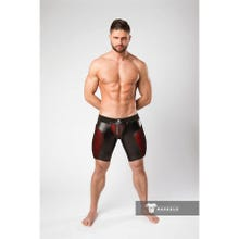MASKULO - Armored Color Under Mens Fetish Shorts Zipped Rear - Red/Black