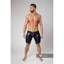 MASKULO - Armored Color Under Mens Fetish Shorts Zipped Rear - Royal Blue/Black
