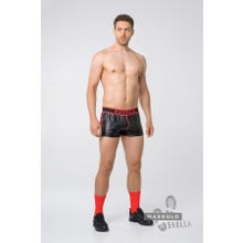 MASKULO - Skulla Mens Leatherette Shorts - Black/Red