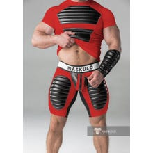 MASKULO - Fetish Short - Detachable codpiece - Thigh pads - Red/Black