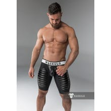MASKULO - Fetish Short - Detachable codpiece - Thigh pads - Black | SUPERSALE