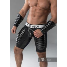 MASKULO - Fetish Short - Open Rear - Detachable codpiece - Thigh pads - Black | SUPERSALE