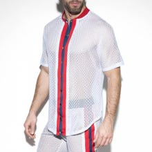 ES Collection SP214 Open Mesh Shirt white|SUPERSALE