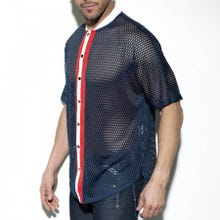 ES Collection SP214 Open Mesh Shirt navy|SUPERSALE
