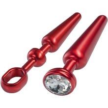 10,6 x 1,2 - 2,5 cm Malesation Alu-Plug mit Stoßgriff und Schmuckstein mittel rot|SUPERSALE