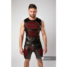 MASKULO - Armored Color Under Mens Fetish Tank Top Front Pads - Red/Black