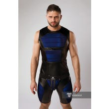 MASKULO - Armored Color Under Mens Fetish Tank Top Front Pads - Royal Blue/Black | SUPERSALE
