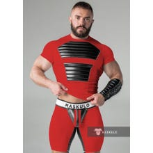 MASKULO - Fetish T-Shirt - Front Pads - Red/Black - Gr.M | SUPERSALE