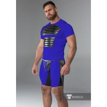 MASKULO - Fetish T-Shirt - Front Pads - Blue/Black | SUPERSALE
