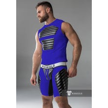 MASKULO - Fetish Tanktop - Front Pads - Blue/Black | SUPERSALE